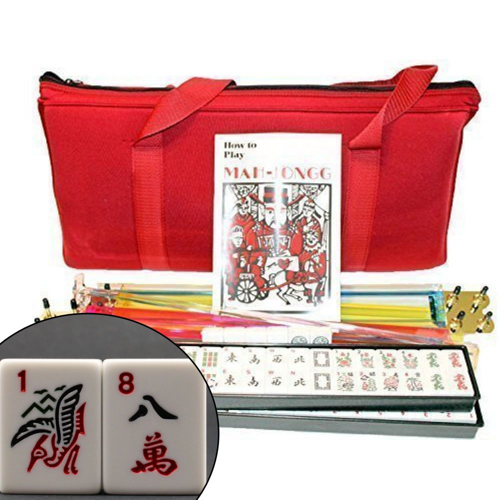 4 Pushers + Brand New Complete American Mahjong Set in Burgundy Bag , 166 Tiles(mah Jong Mah Jongg Mahjongg) by KT Mahjong