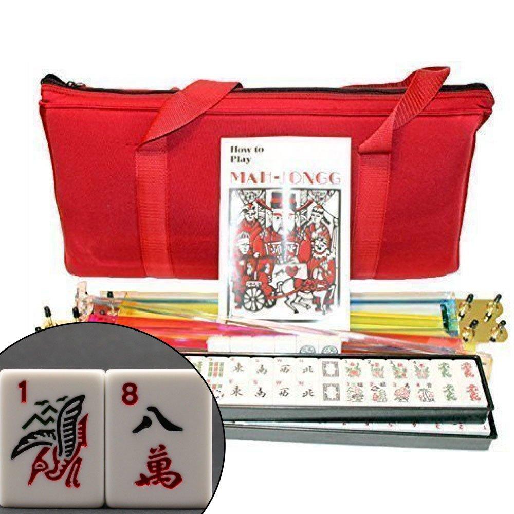 KT Mahjong 4 Pushers and Complete American Mahjong Set with Burgundy Bag, 166 Tiles