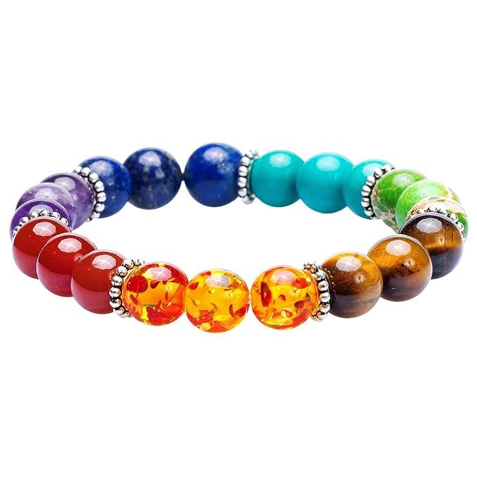 7 Chakra Healing Bracelet with Real Stones, Volcanic Lava, Mala Meditation  Bracelet - Men's and Women's Religious Jewelry - Wrap, Stretch, Charm
