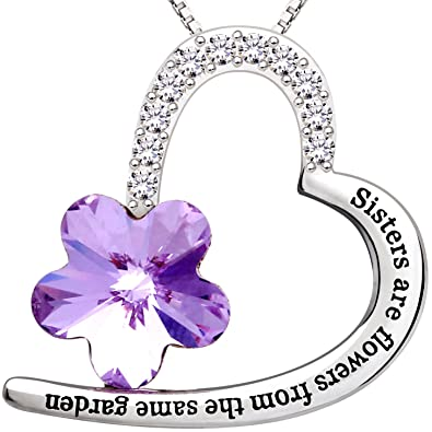 ALOV Jewelry Sterling Silver Sisters are flowers from the same garden Love Heart Purple Crystal Cubic Zirconia Pendant Necklace