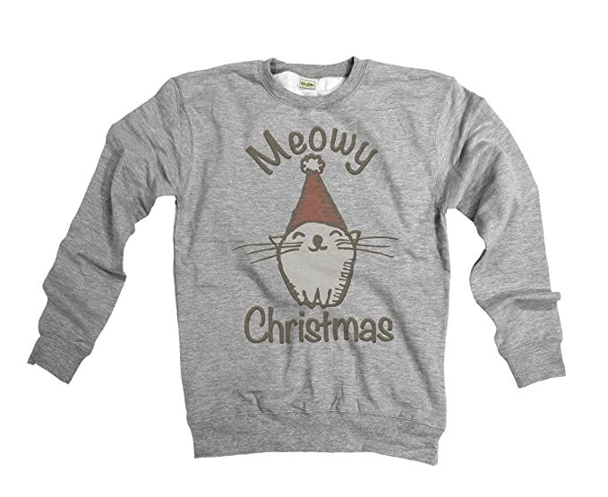 482130ad14 Meowy Christmas Funny Cat Mens Womens Unisex Loose Fit Christmas Sweater:  Amazon.co.uk: Clothing