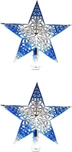 BinaryABC Christmas Tree Topper Star,Christmas Tree Hanging Decorations Ornaments,Hollowed-Out Glittering,2Pcs(Silvery Blue)