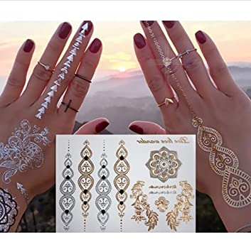 Flash Tattoos Klebe Tattoo Gold Silber Premium Temporäre Metallic Tattoo Wasserdicht über 200 Mustern Tattoo Aufkleber On Hippie Urlaub Party 10