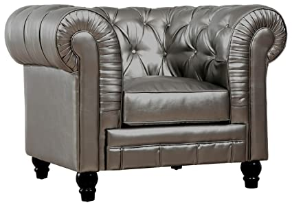 Perfect TOV Furniture The Zahara Collection Modern Bonded Leather Living Room  Furniture Tufted Bonded Leather Club Chair