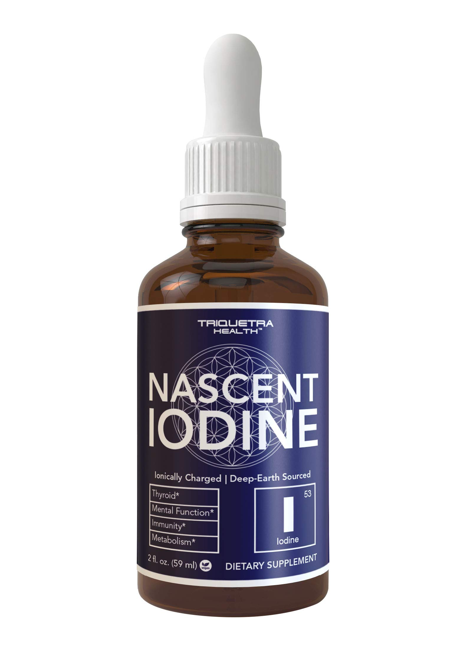 Nascent Iodine Supplement 400 Servings, Glass Bottle, Vegan, 1800 mcg - 600 mcg per Drop - Pure, Clear Color - Supports Thyroid Health, Energy, Immunity & Metabolism (2 oz.)