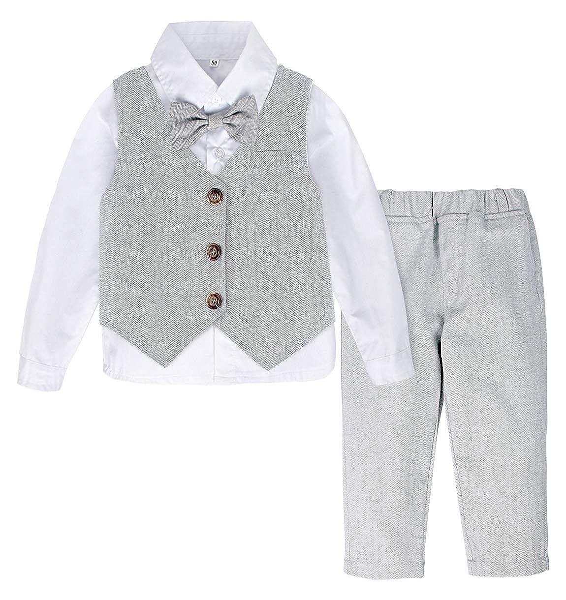 A&J DESIGN Conjunto de Camisa Manga Larga para Bebé Niños con Chaleco Pajarita Caballero, Trajes de 3 Piezas, Tamaño: 1-4 Años: Amazon.es: Ropa y accesorios