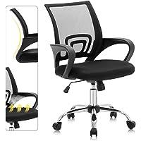 ATCKMU Mesh Chair Mid Back Adjustment HeightComputer Executive Office Armchair, Wide Seat, Black