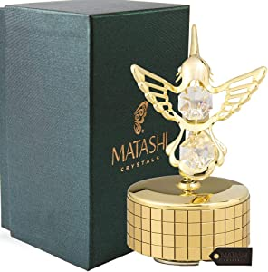 Matashi 24K Gold Plated Music Box Plays - Swan Lake with Crystal Studded Hummingbird Figurine Best Gift for Valentine's Day, Birthday, Mother's Day, Anniversary, Christmas, Thanks Giving, New Year