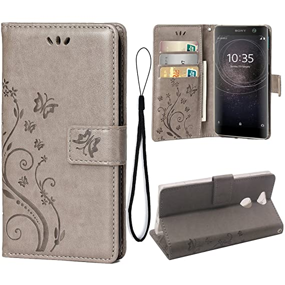 newest 04054 8474d Wallet Case for Sony Xperia XA2, 3 Card Holder Embossed Butterfly Flower PU  Leather Magnetic Flip Cover for Sony Xperia XA2 (Grey)