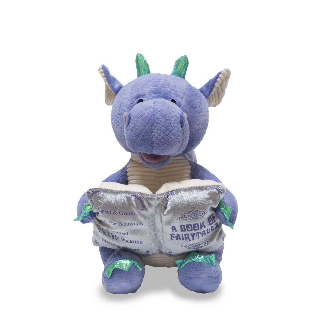 Cuddle Barn   Dalton the Storytelling Dragon 12'' Animated Stuffed Animal Plush Toy   Mouth Moves, Head Sways and Book Lights Up   Recites 5 Fairy-Tales by Cuddle Barn