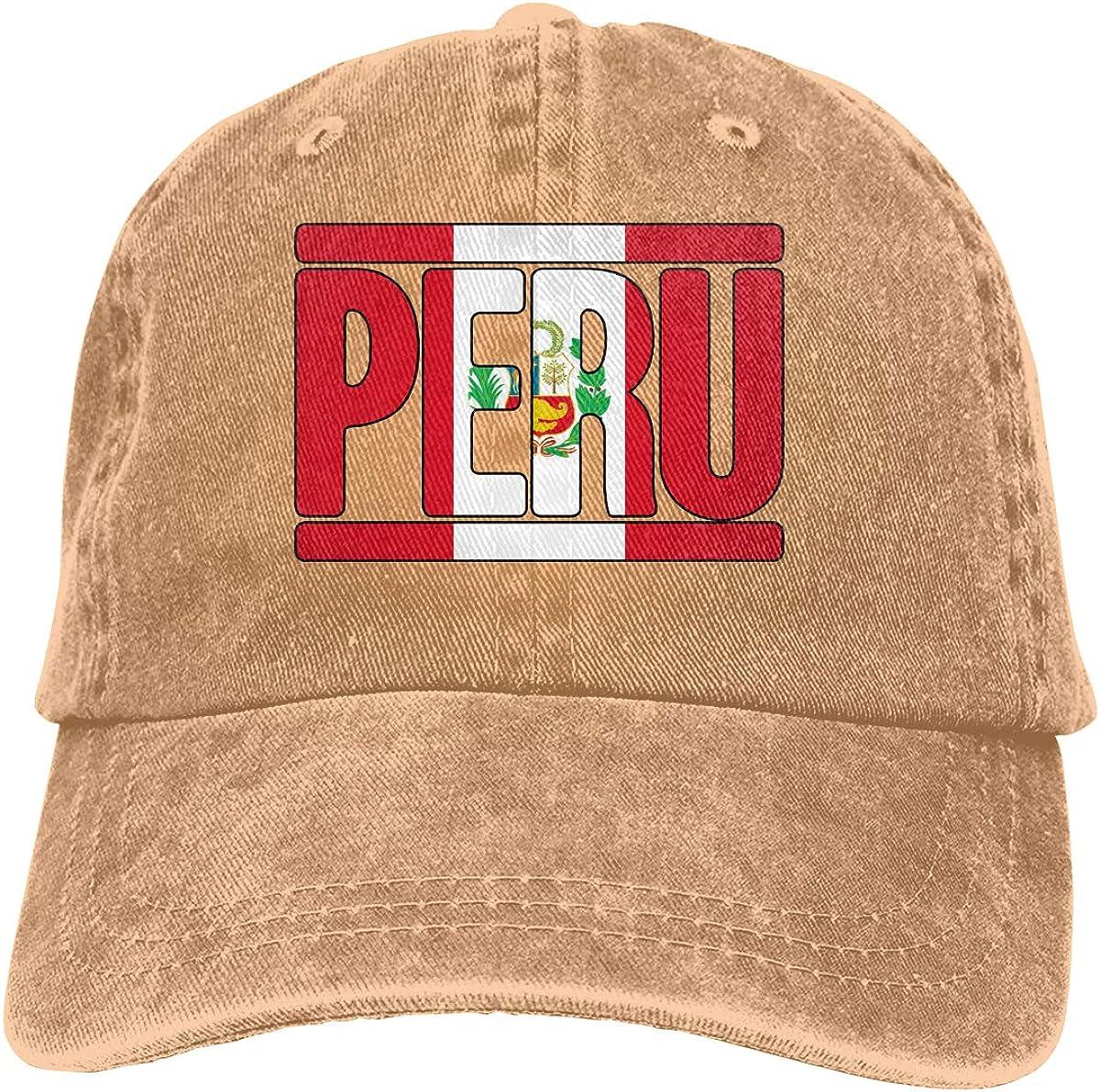 Peruvian Peru Flag Text Mens Womens Adjustable Denim Fabric Baseball Cap Hip-hop Cap