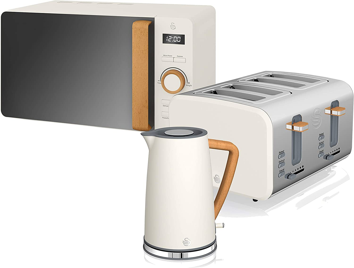 Swan STRP1060WHTN Nordic Kitchen Bundle with 1.7 Litre Jug Kettle 2 Slice Toaster and 800W Microwave Wood Effect Handle Soft Touch Matte Finish Cotton White