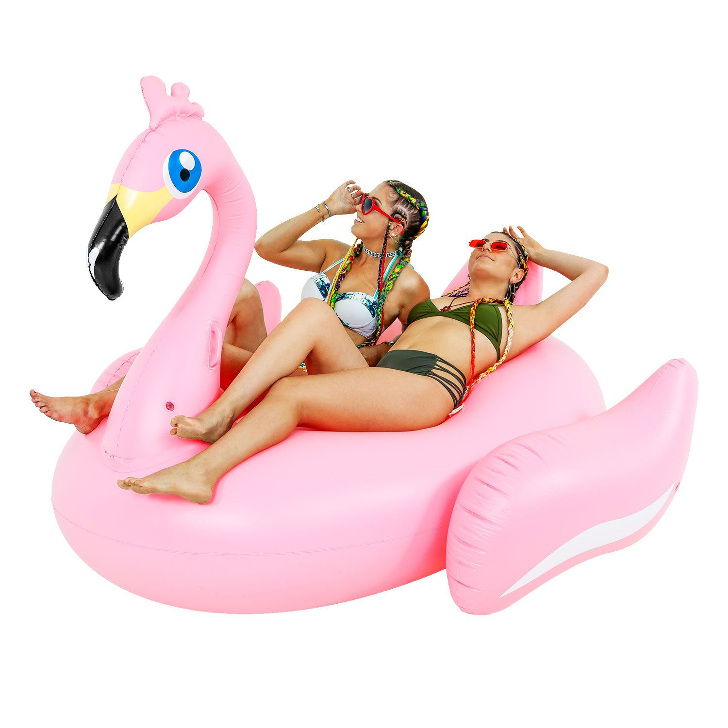 TCP Global Sundaze Floats Giant 7 Foot Inflatable Pretty in Pink Flamingo Pool Float - Fun Kids Swim Party Toy - Summer Lounge Raft by TCP Global