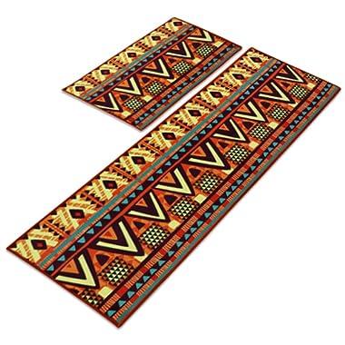 Carvapet 2 Piece Non-Slip Kitchen Mat Runner Rug Set Doormat Vintage Design,Maya Style (15 x47 +15 x23 )