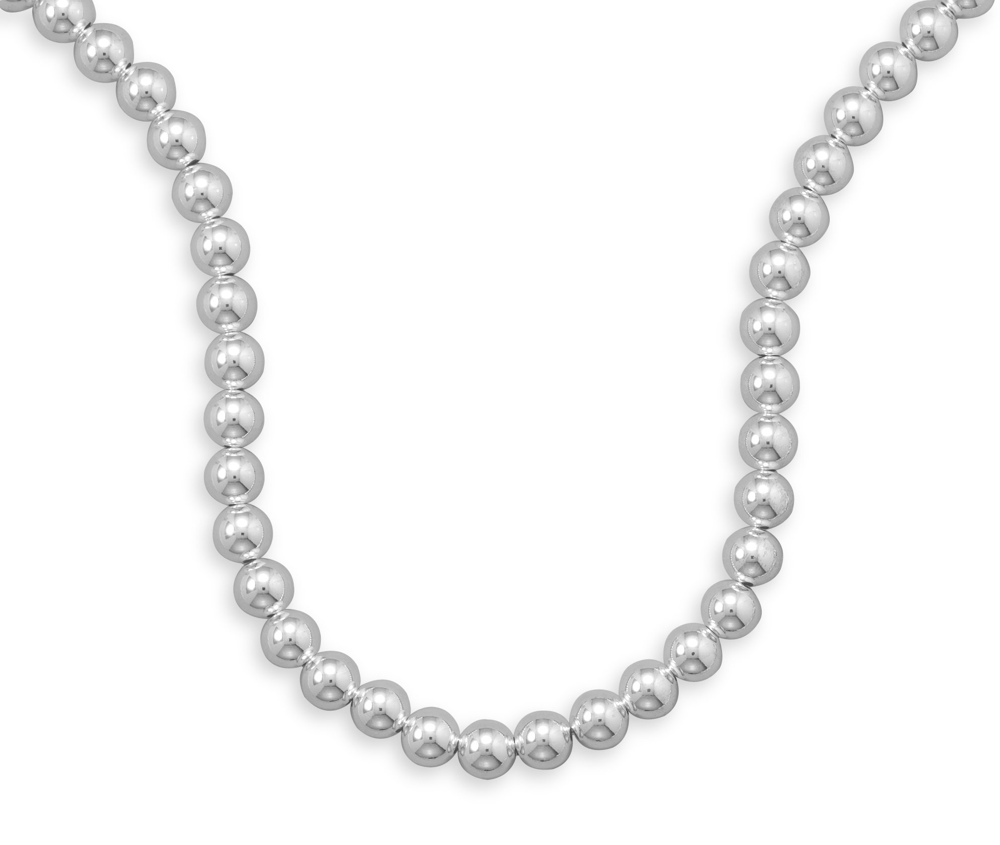 Sterling Silver Necklace, Lobster Clasp, 16 inch long, 10mm Bead/Ball
