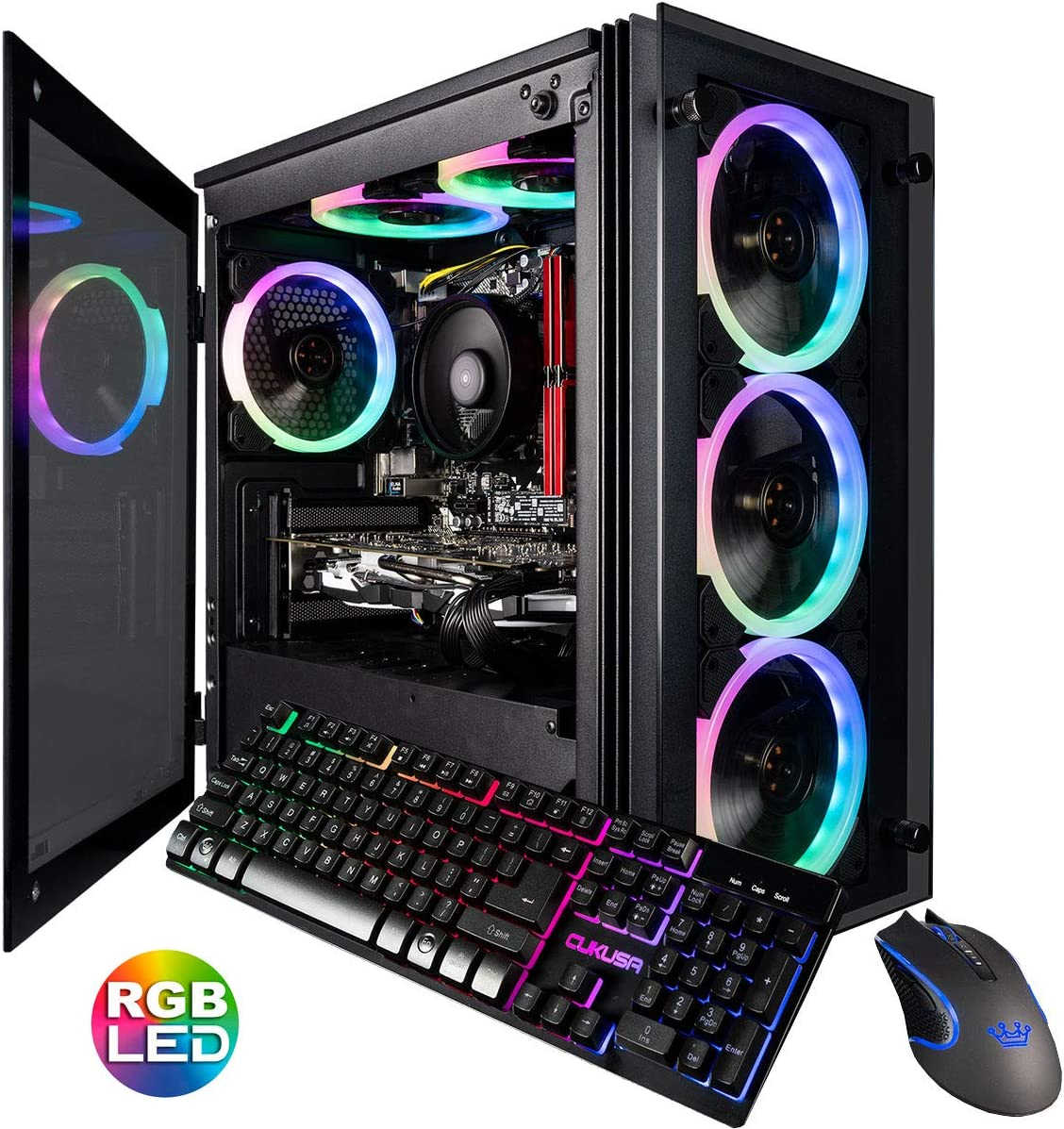 CUK Stratos Micro Gaming Desktop (Intel i7-9700F, 32GB DDR4 RAM, 512GB NVMe SSD + 1TB HDD, NVIDIA GeForce RTX 2060 8GB, 600W Gold PSU, Windows 10 Home) Gamer PC Computer