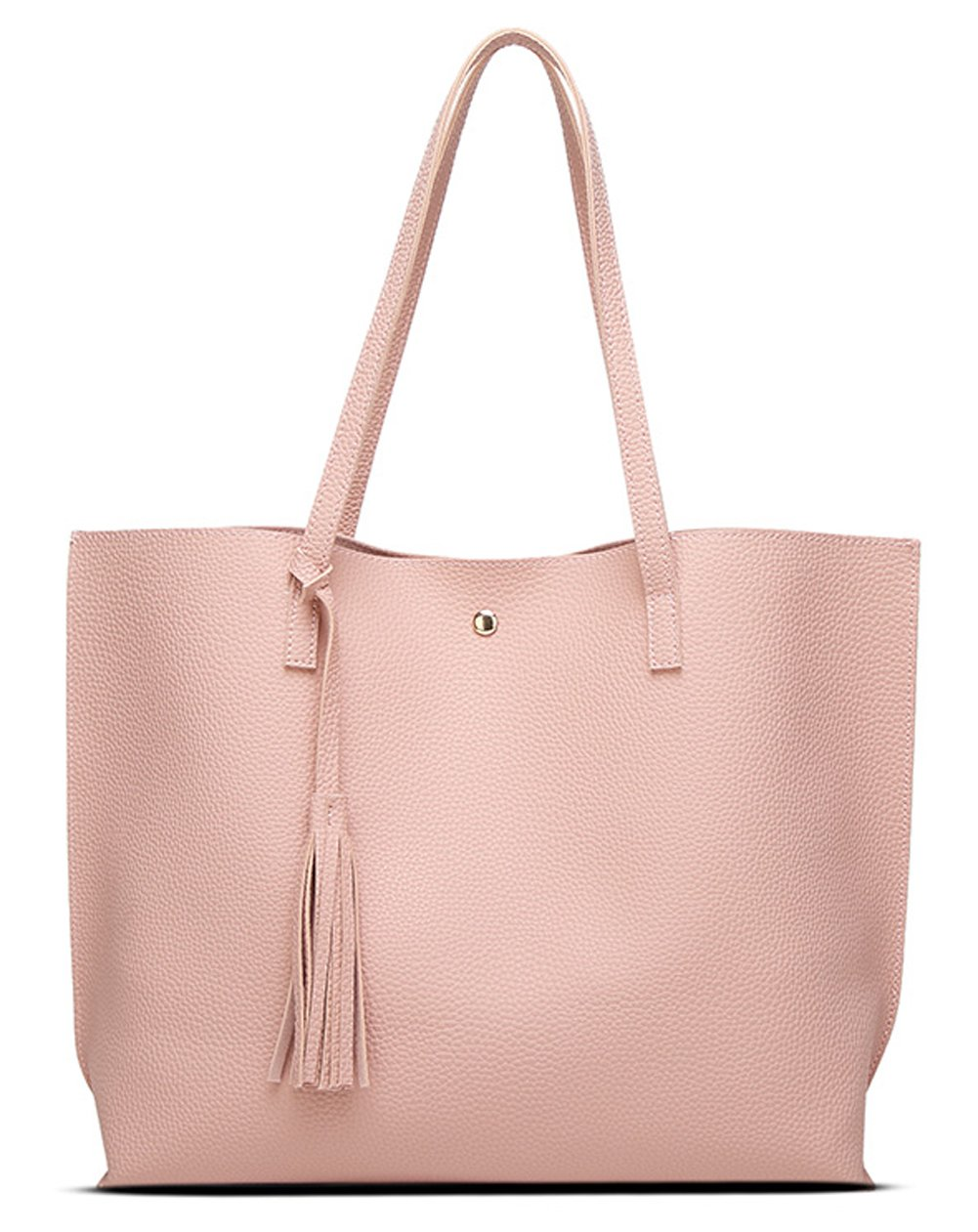 Women's Soft Leather Tote Shoulder Bag from Dreubea, Big Capacity Tassel Handbag Pink