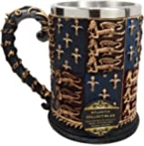 """Atlantic Collectibles Large Medieval Coat Of Arms Lion Heart Beer Stein Tankard Coffee Cup Mug 5.25""""H"""