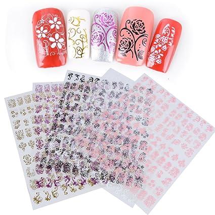 540pcs(5hojas) Decoración Pegatinas Stickers Vinilos Etiquetas Adhesivas de Uñas DIY 9 patrones 5