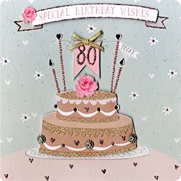 Second Nature Collectable Keepsake Cake And Candles Design 80th Birthday Card For Women