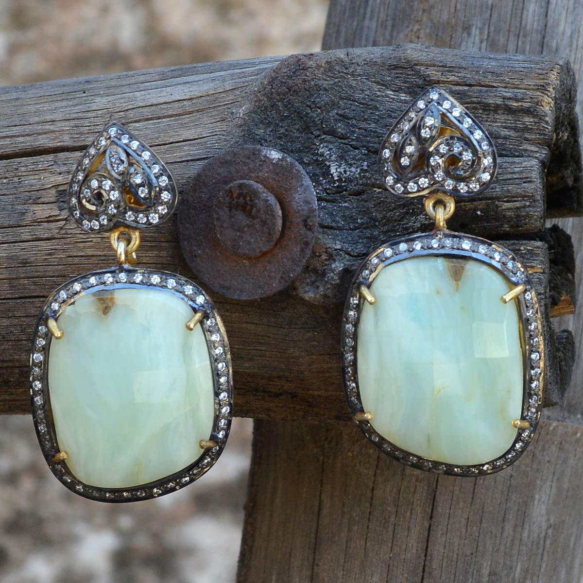 Handmade Jewelry Manufacturer Peru Opal /& Cubic Zirconia 925 Sterling Silver Vermeil Dangle Push Back Earring Jaipur Rajasthan India