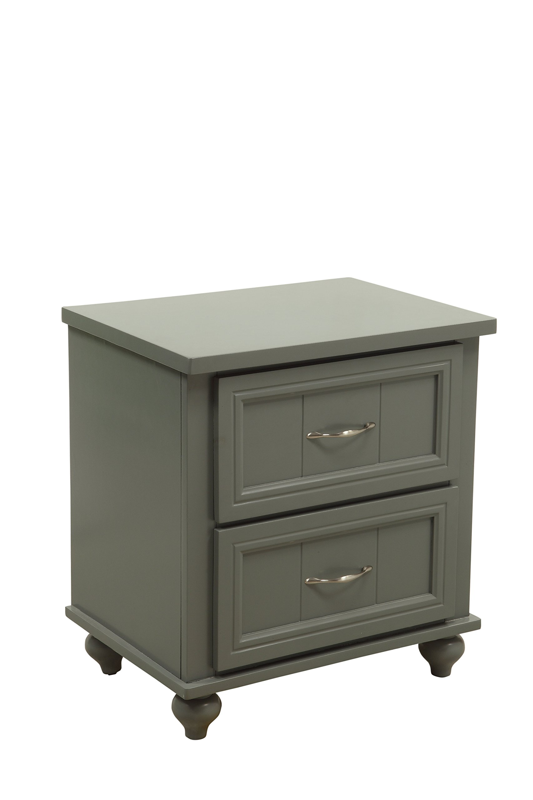 HOMES: Inside + Out Felix Transitional 2-Drawer Nightstand, Gray