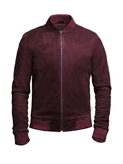 Brandslock Mens Leather Bomber Jacket Vintage Retro Goat Suede Varsity (XS, Burgundy)