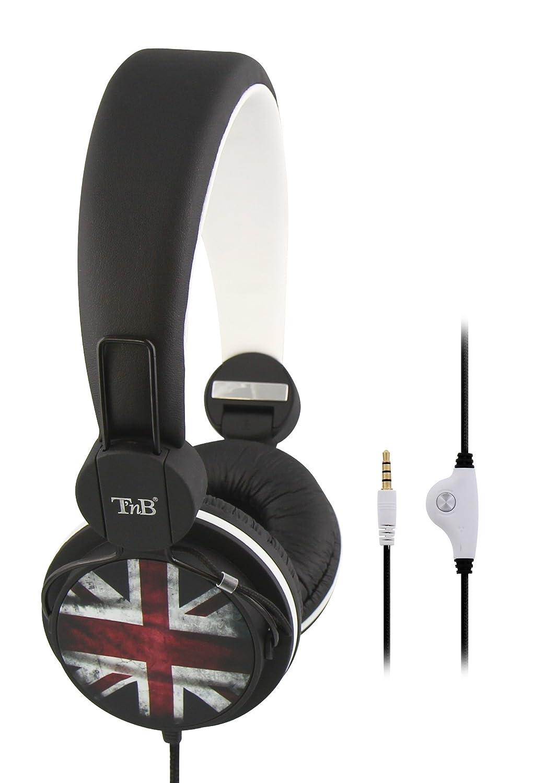 TnB CSBCUK - Auriculares de diadema cerrados (control remoto integrado), negro y rojo: Amazon.es: Electrónica