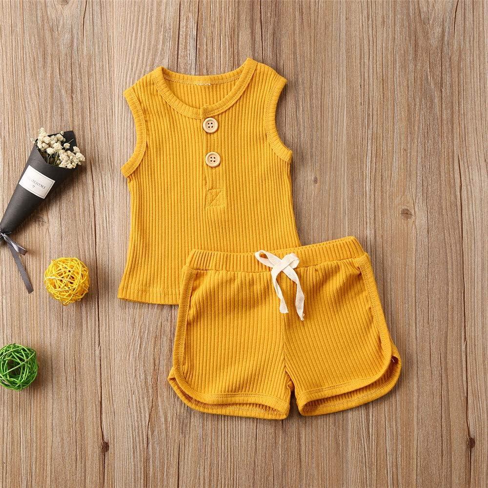 DuAnyozu Toddler Baby Girls Boys Summer Ribbed Outfit Sleeveless Tank Tops T-Shirt+Drawstring Shorts 2Pcs Clothes Set