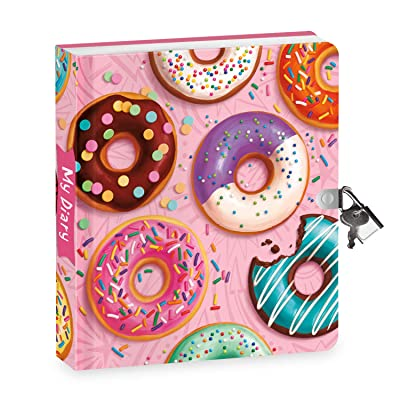 """Peaceable Kingdom Donut Diary 6.25"""" Lock and Key, Lined Page Diary for Kids: Toys & Games"""
