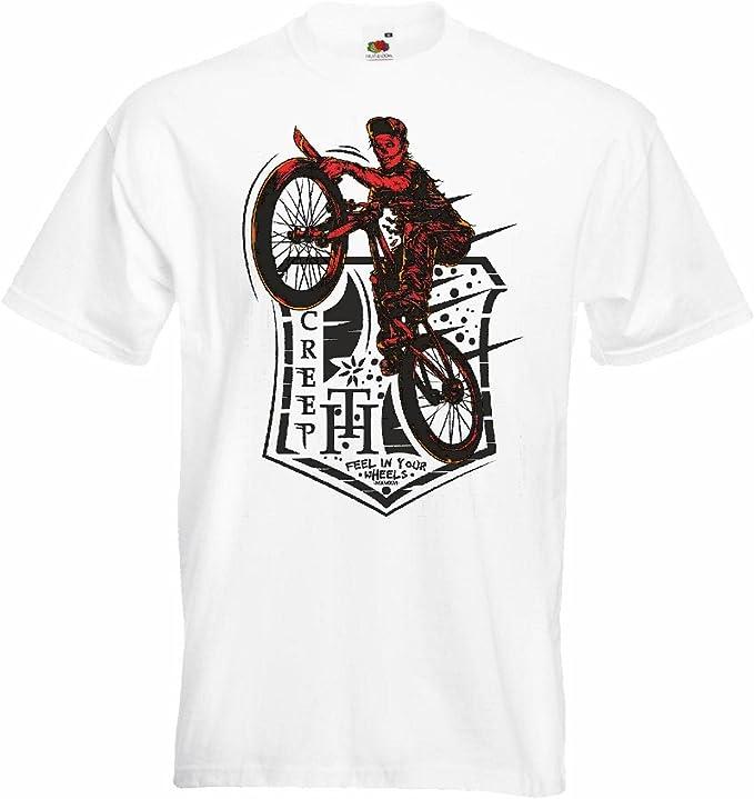 T-Shirt Camiseta Remera Feel Creep EN SU Bicicleta Ruedas de Bicicleta Motocross Freestyle Chopper Mountainbike en Blanco: Amazon.es: Ropa y accesorios