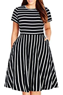 20637e08ba Nemidor Women's Round Neck Summer Casual Plus Size Fit and Flare Midi Dress  with Pocket