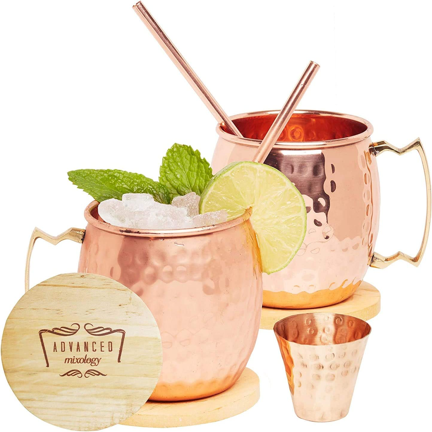 Brush Coaster 13 oz Handmade Cocktail Copper Mug Set with Straw Moscow Mule Mugs Jigger 100/% Pure Copper Hammered Stainless Steel Cups