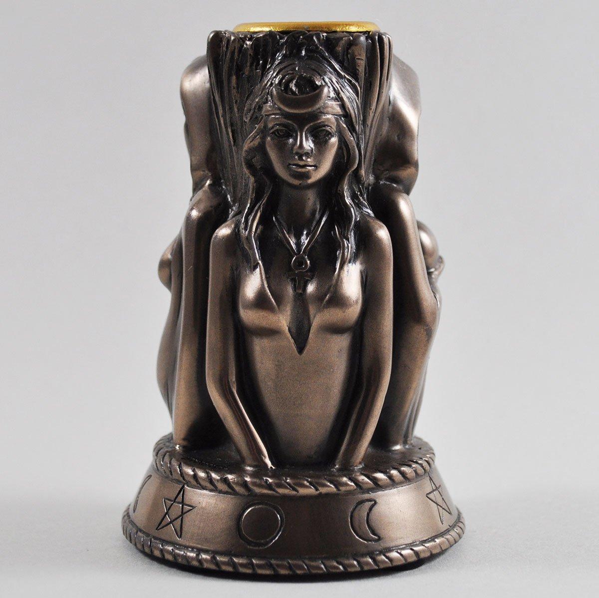 3 Witches Candle Stick Bronze Ornament. H10cm Tina Tarrant Fiesta Studios