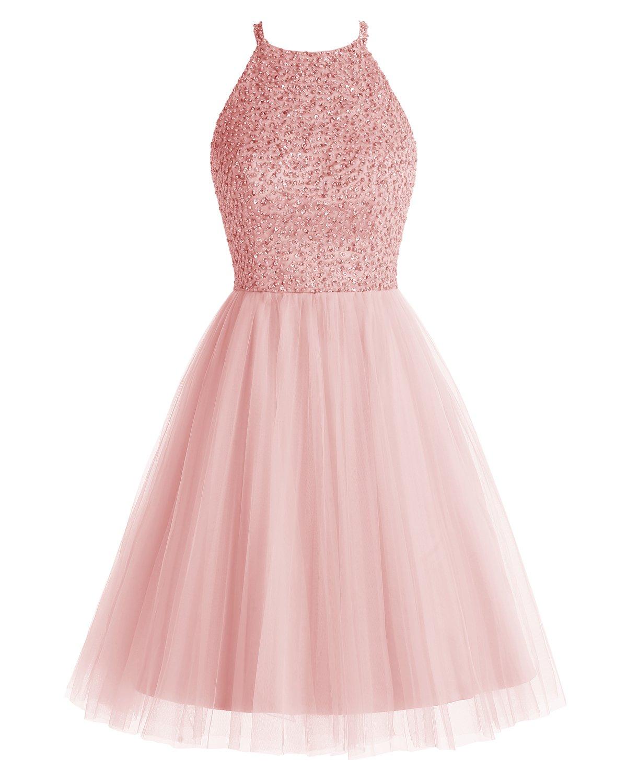 Bridesmay Short Tulle Beading Homecoming Dress Keyhole Bridesmaid Prom Dress Blush Size 8