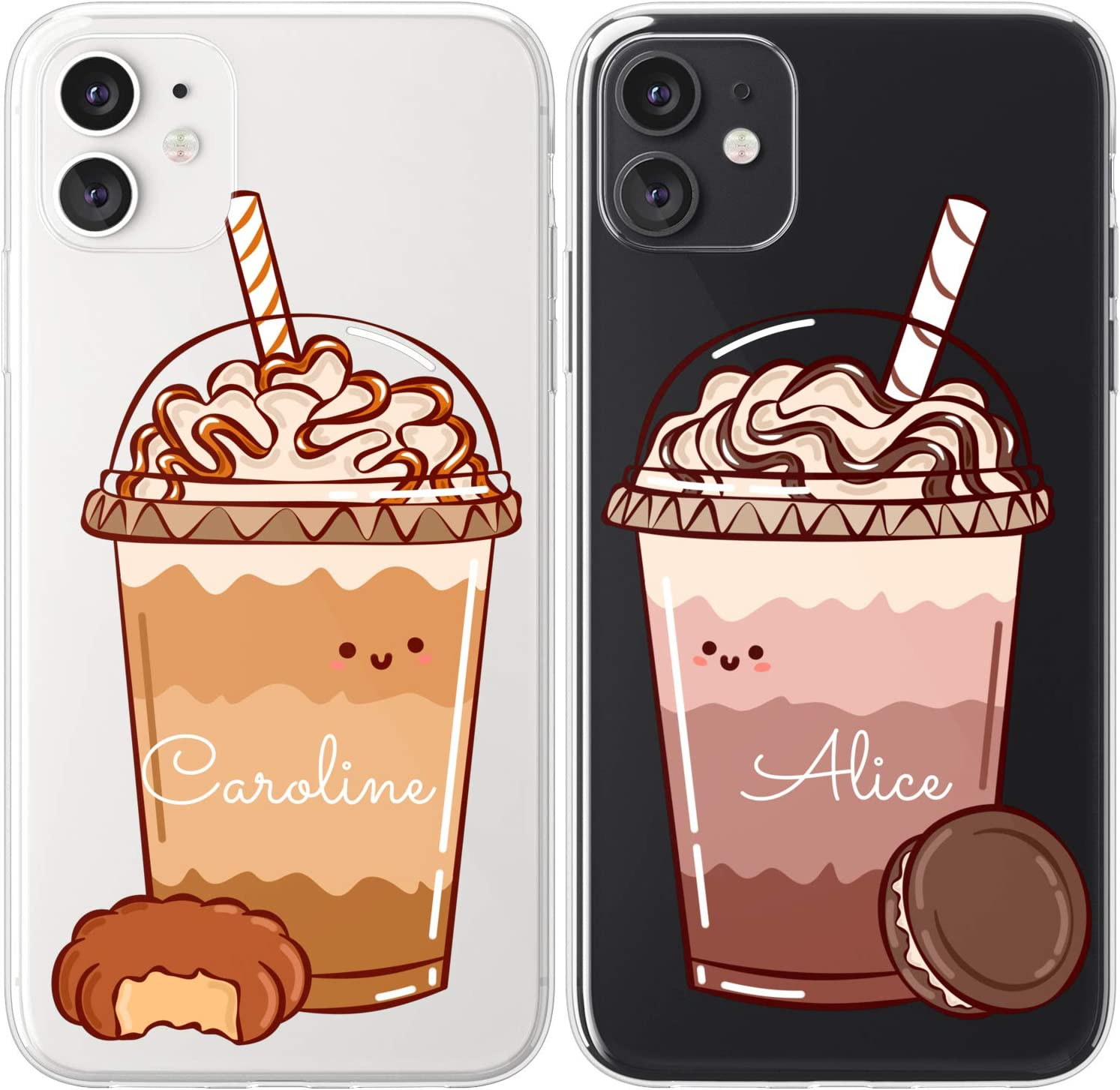 Mertak TPU Couple Cases Compatible with iPhone 12 Pro Max Mini 11 SE Xs Xr 8 Plus 7 6s Coffee Girlfriend Anniversary Protective Best Friend Cute Custom Frappuccino Caramel BFF Monogram Flexible Name