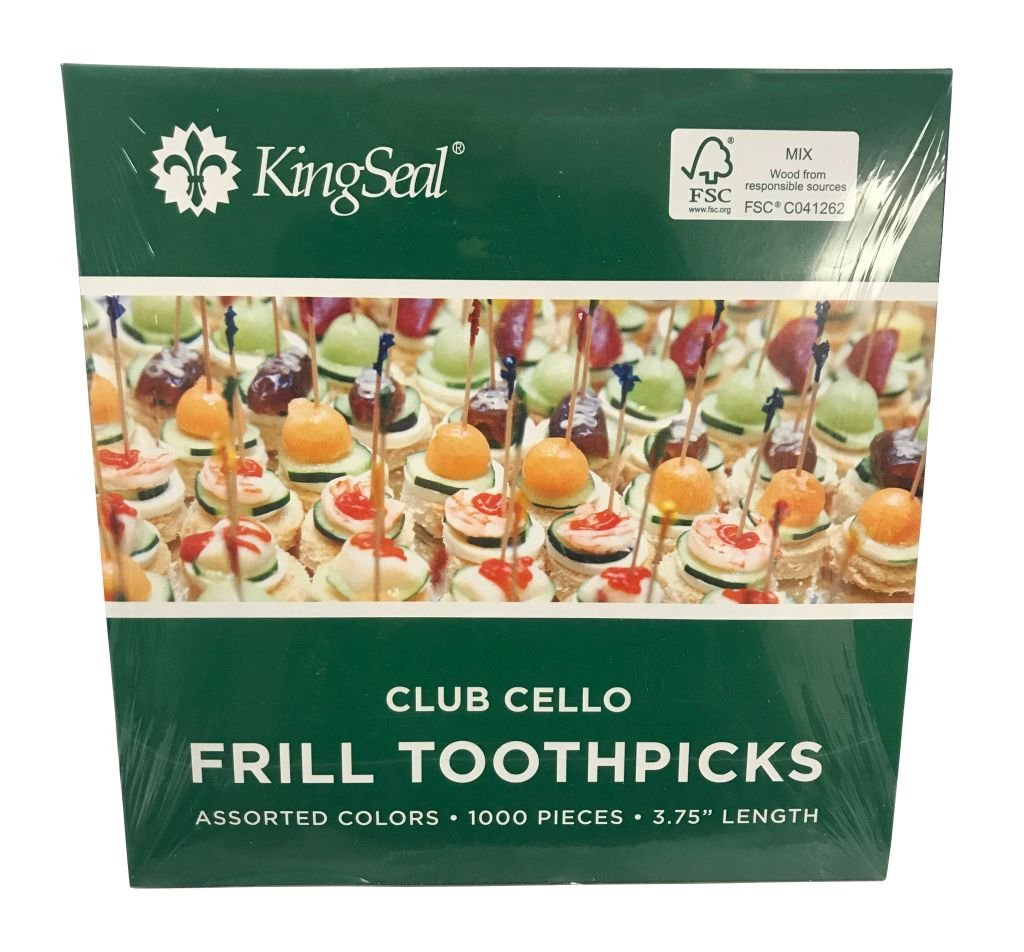 KingSeal FSC Certified Sustainably Sourced Natural Birch Club Frill Sandwich Toothpicks, Picks, Assorted Colors, 3.75'' Length - 5 Packs of 1000 per Case