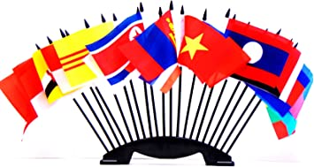 EAST TIMOR TABLE FLAG SET of 3 flags and base