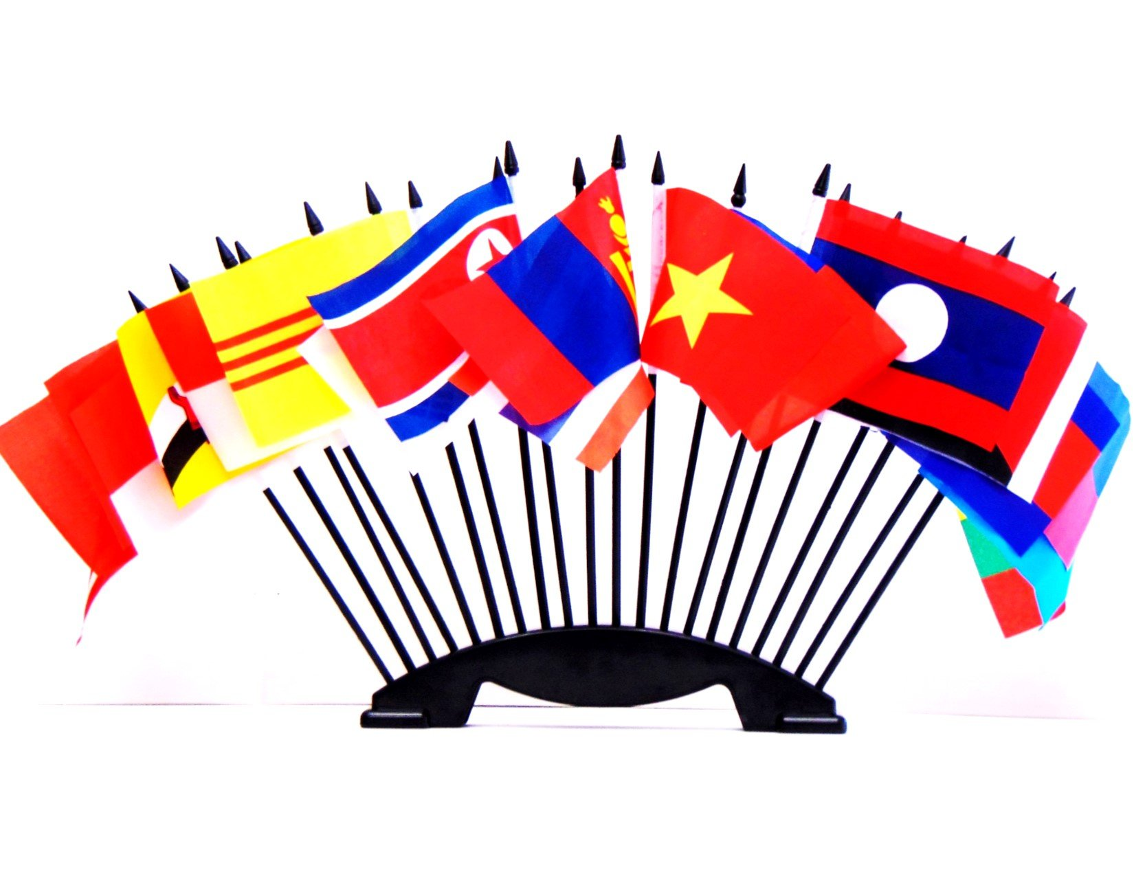 South East Asia World Flag Set with BASE-20 Polyester 4''x6'' Flags, One Flag for Each Country in South East Asia Flag Centerpiece, 4x6 Miniature Desk & Table Flags, Small Mini Stick Flags by World Flags Direct