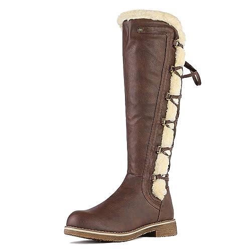 d274c58e1 DREAM PAIRS Women's BUSON Brown Faux Fur Knee High Riding Boots Size 5 B(M