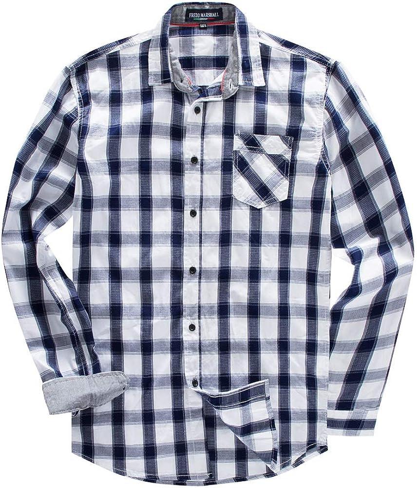 Camisa a Cuadros de algodón de Manga Larga para Hombre de Talla Grande Azul XL: Amazon.es: Ropa y accesorios