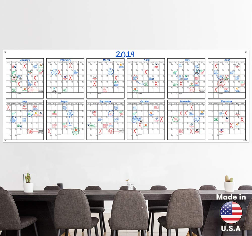 Large Dry Erase Wall Calendar 36 Quot X 96 Quot Premium Giant