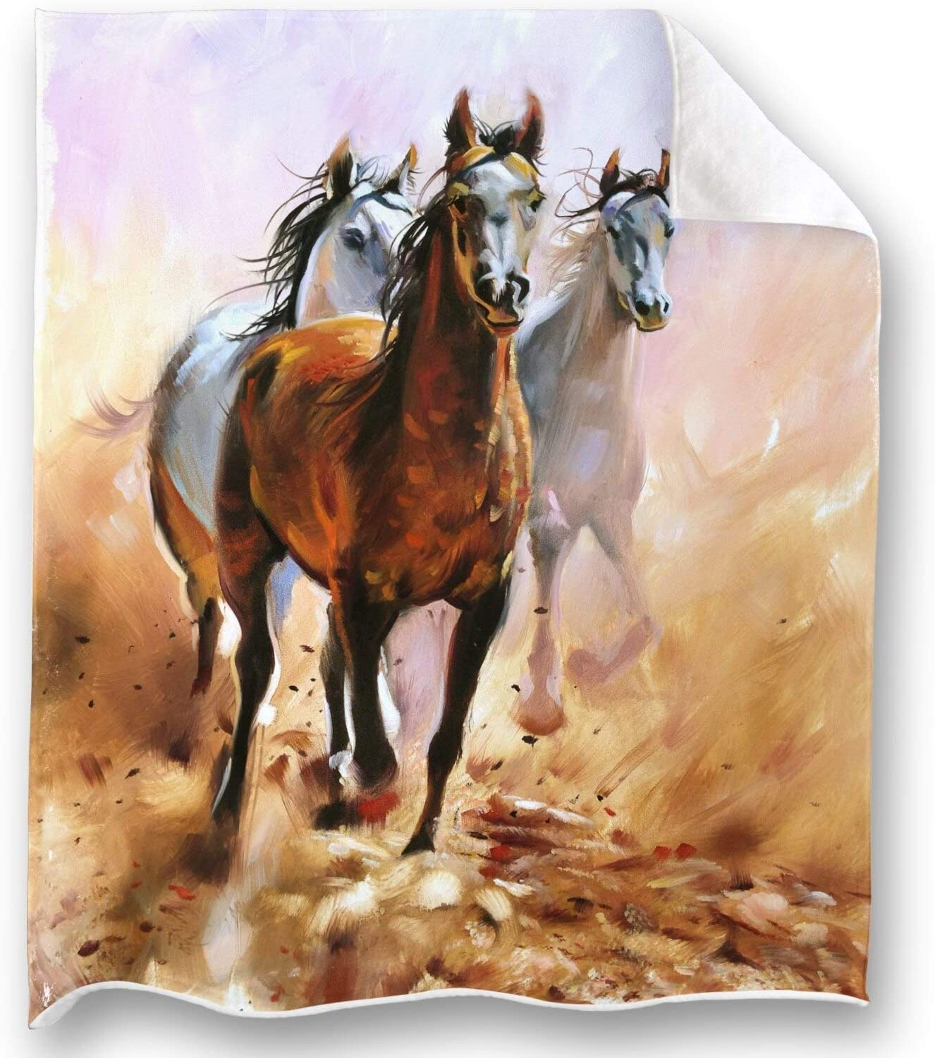 Loong Design Horse Throw Blanket Soft Fluffy Premium Sherpa Fleece Blanket 50'' x 60'' Fit for Sofa Chair Bed Office Travelling Camping Gift