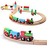 SainSmart Jr. Wooden Train Set for Toddler with Double-Side Train Tracks Fits Brio, Thomas, Melissa and Doug, Kids Wood Toy Train for 3,4,5 Year old Boys and Girls