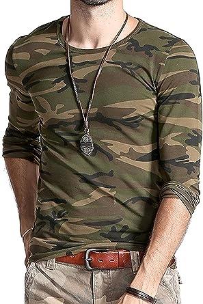Lionroar Men s Army Round Neck Full Sleeve Camouflage T- Shirt ... 003397dd38c