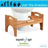 "Squat N Go 7"" or 9"" Adjustable Bamboo Luxury Squatting Toilet Stool with Built-In Foot Massager to Boost Blood Circulation"