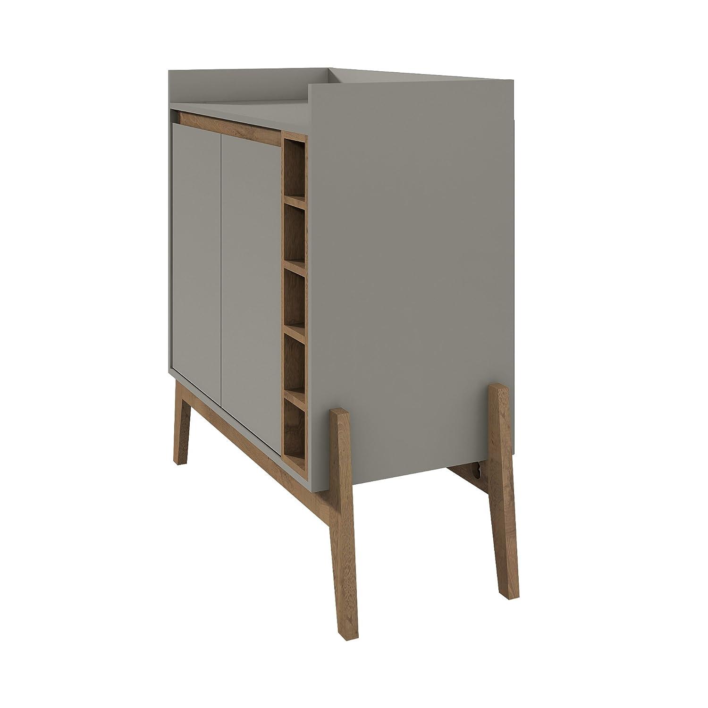 Grey Manhattan Comfort 350905 Essence 2 Tone Buffet and Wine Cabinet