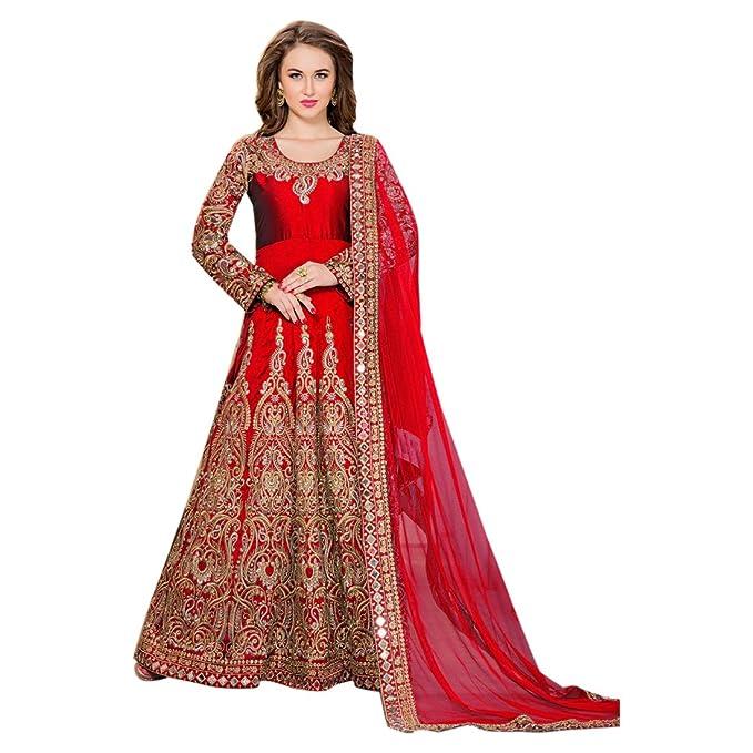 Red Abito su misura per abito lungo musulmano Anarkali Salwar Kameez Abito  da sposa nuovo indiano 1b9e69bff2e