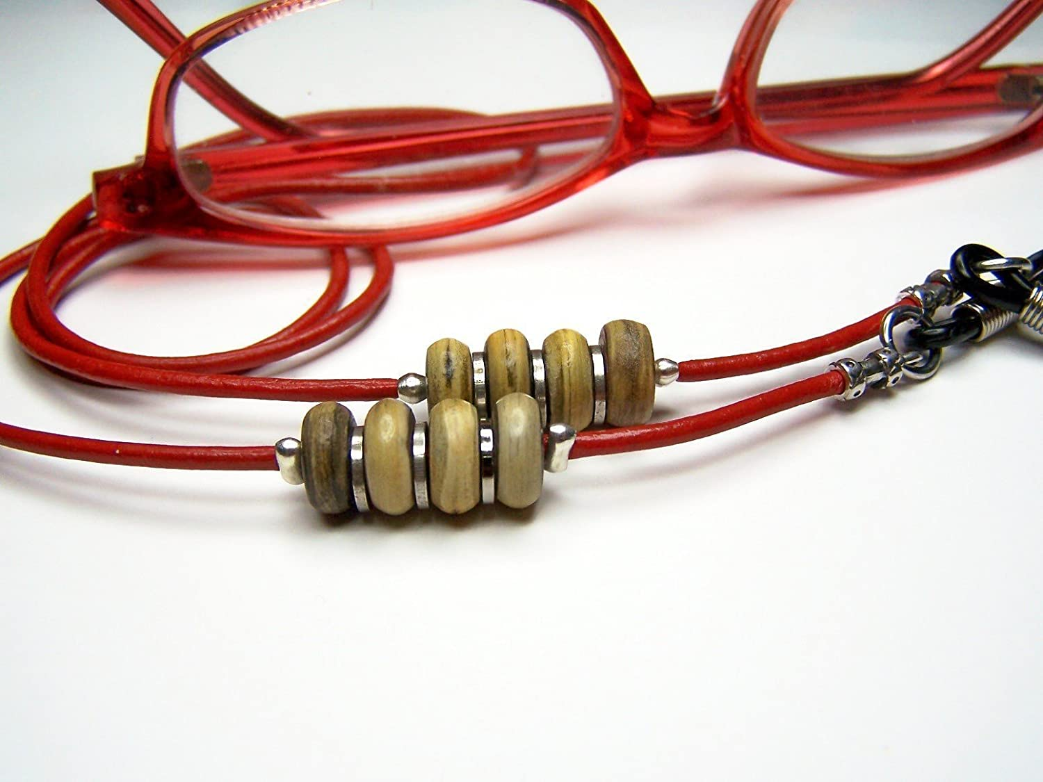 Custom Leather Eyeglass Cord, With Horn Beads, Several Colors, Lengths From 24 - 34