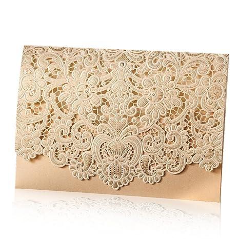 e1520d31499f Wishmade 50pz taglio laser gold inviti da matrimonio cartoncino kit  fidanzamento con hollow fiori biglietti inviti